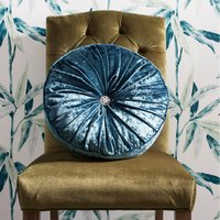 Loire Round Teal Velvet Cushion Teal (Blue)