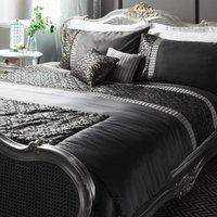 Deco Emboridered Charcoal Sequin Duvet Cover and Pillowcase Set Black
