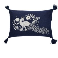Jan Constantine Oriental Peacock Rectangular Cushion Blue