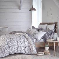 Jan Constantine Love Birds 100% Cotton Reversible Duvet Cover and Pillowcase Set Grey