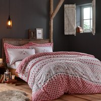 Jan Constantine Boxing Hares 100% Brushed Cotton Reversible Duvet Cover and Pillowcase Set Red