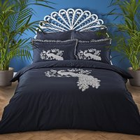 Jan Constantine Oriental Peacock Embroidered 100% Cotton Duvet Cover and Pillowcase Set Navy (Blue)