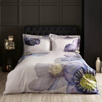 Harris & Hatherly by Jane Abbott Hellebore Digitally Printed 100% Cotton Duvet Cover and Pillowcase Set Blue