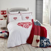 Jan Constantine Red Classic Heart Embroidered 100% Cotton Percale Duvet Cover and Pillowcase Set Red