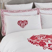 Jan Constantine Red Classic Heart Embroidered 100% Cotton Percale Continental Pillowcase Red