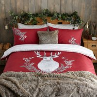 Stag Head Red Duvet Cover and Pillowcase Set Red