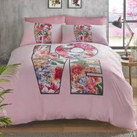 HASHTAG Boho Love Duvet Cover and Pillowcase Set Pink