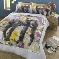 HASHTAG Elephant Dream Duvet Cover and Pillowcase Set Grey/Purple/Green/Yellow