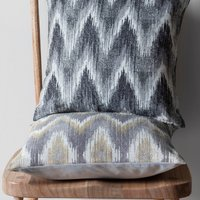 Kalsi Chartreuse Zig-Zag Cushion Grey