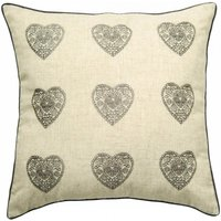 Vintage Hearts Silver Cushion Cover Grey