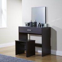 julia dressing table set dark brown (brown)