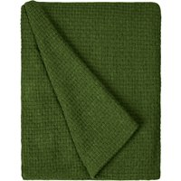 Basketweave Moss Green Throw Green