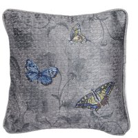 Harris & Hatherly by Jane Abbott Small Butterfly and Sweetpea Cushion Natural