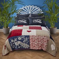 Jan Constantine 100% Cotton Patchwork Bedspread White/Red/Blue/Cream