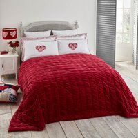 Jan Constantine 100% Cotton Velvet Red Bedspread Red