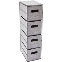 4 Tier Felt Storage Unit Grey