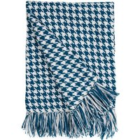 Houndstooth Teal Throw Teal (Blue)