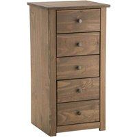 santiago 5 drawer tallboy weathered pine (brown)