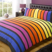 Rapport Home Soho Rainbow Duvet Cover and Pillowcase Set Mutli Coloured