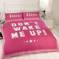 Rapport Home Don't Wake Me Up Pink Duvet Cover and Pillowcase Set Cerise (Pink)
