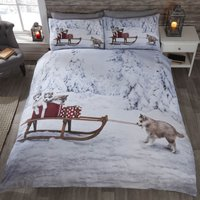 Huskies Duvet Cover and Pillowcase Set White