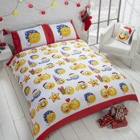 Christmas Icons Duvet Cover and Pillowcase Set Yellow/Blue/White/Red