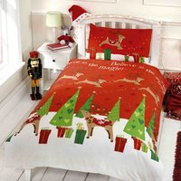 Believe In Magic Duvet Cover and Pillowcase Set Red