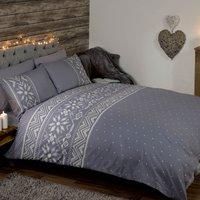 Nordic Grey Duvet Cover and Pillowcase Set Grey