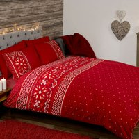 Nordic Red Duvet Cover and Pillowcase Set Wine (Red)