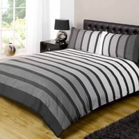 Rapport Home Soho Black Duvet Cover and Pillowcase Set Grey