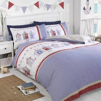 Rapport Home Beach Huts Duvet Cover and Pillowcase Set Blue