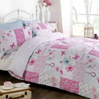 Rapport Home Dream Patchwork Pink Duvet Cover and Pillowcase Set Strawberry (Pink)