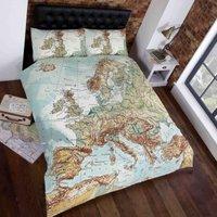 Rapport Home Vintage Maps Duvet Cover and Pillowcase Set Mutli Coloured