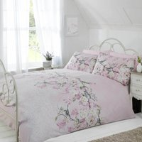 Rapport Home Eloise Pink Duvet Cover and Pillowcase Set Dusty Pink (Pink)