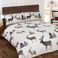 Woodland Stag Natural Duvet Cover and Pillowcase Set Natural