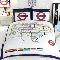 Rapport Home London Underground Duvet Cover and Pillowcase Set White/Red/Blue