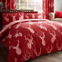 Stags Red Duvet Cover and Pillowcase Set Red Rose (Red)