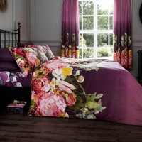 Gaveno Cavailia Fadded Floral Aubergine Duvet Cover and Pillowcase Set Aubergine (Purple)