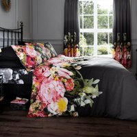 Gaveno Cavailia Fadded Floral Black Duvet Cover and Pillowcase Set Black