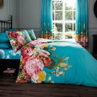 Gaveno Cavailia Fadded Floral Turquoise Duvet Cover and Pillowcase Set Turquoise (Blue)