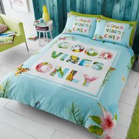 Gaveno Cavailia Good Vibes Only Duvet Cover and Pillowcase Set Turquoise Blue