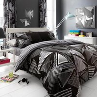 Gaveno Cavailia Pop Triangle Duvet Cover and Pillowcase Set Black