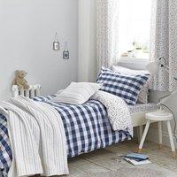 Bianca Cotton Blue Gingham Duvet Cover and Pillowcase Set Navy (Blue)