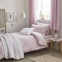 Bianca Cotton Pink Gingham Duvet Cover and Pillowcase Set Pink
