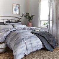 Bianca Cotton Stripe Check Duvet Cover and Pillowcase Set Silver