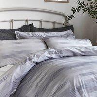 Bianca Cotton Stripe Check Oxford Pillowcase Silver