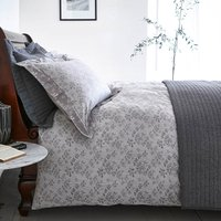 Bianca Cotton Sprig Jacquard Duvet Cover and Pillowcase Set Grey