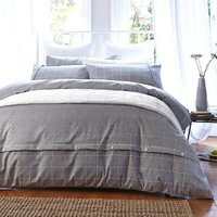 Bianca Cotton Brushed Cotton Duvet Cover and Pillowcase Set Stone (Grey)
