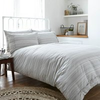 Bianca Cotton Woven Stripe Duvet Cover and Pillowcase Set Natural