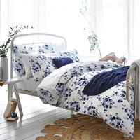 Bianca Cotton Sprig Blue Duvet Cover and Pillowcase Set Navy (Blue)